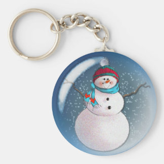 SNOWMAN BUBBLE 3 by SHARON SHARPE Basic Round Button Key Ring