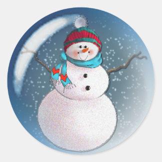 SNOWMAN BUBBLE 3 by SHARON SHARPE Classic Round Sticker