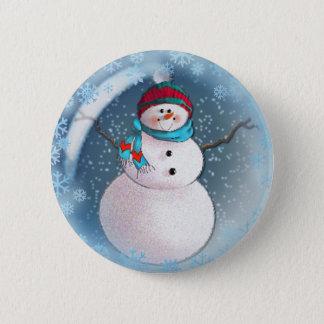 SNOWMAN BUBBLE by 3 SNOWFLAKES SHARON SHARPE 6 Cm Round Badge