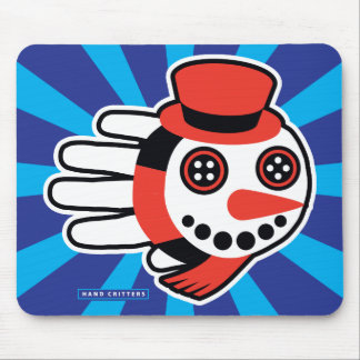 Snowman Button Eyes and Smiley Face Mouse Pad