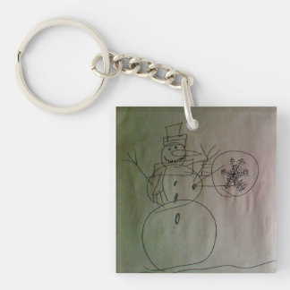 Snowman by Andy Double-Sided Square Acrylic Key Ring