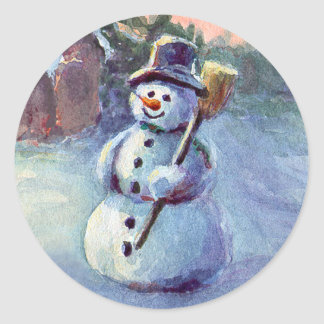 SNOWMAN by SHARON SHARPE Classic Round Sticker