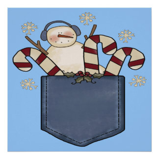 Snowman Candy Cane Poster