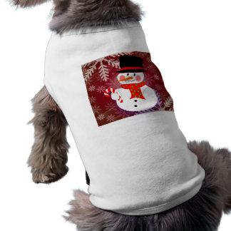 Snowman & Candycane Sleeveless Dog Shirt
