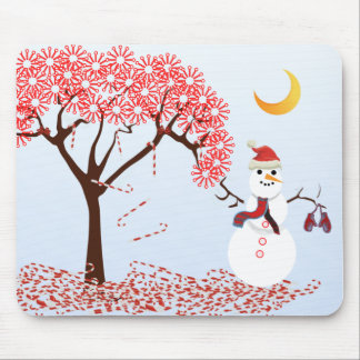 SnowMan CandyCane Tree MousePad -