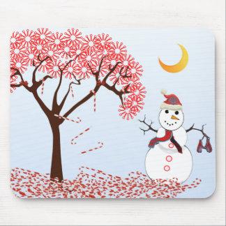 SnowMan CandyCane Tree MousePad