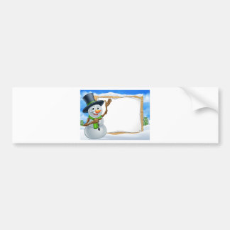 Snowman Cartoon Christmas Sign Bumper Sticker