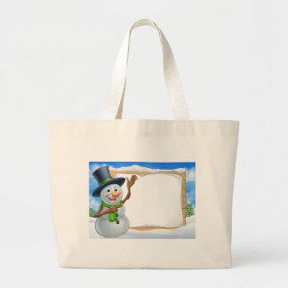 Snowman Cartoon Christmas Sign Large Tote Bag