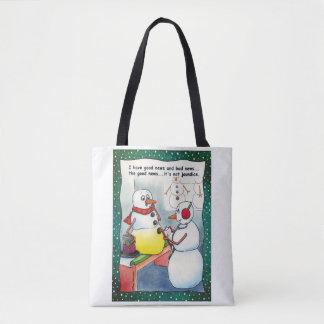Snowman Checkup Tote Bag