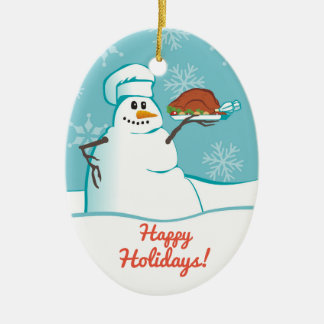 Snowman chef turkey dinner Christmas ornament
