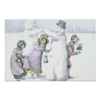 Snowman Children Playing Snow Field Photo