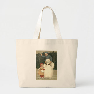 Snowman Children Playing Snowfall Snow Tote Bag