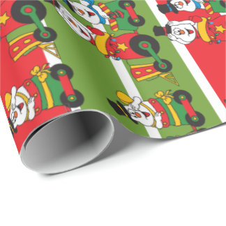 Snowman Choo Choo Train Wrapping Paper