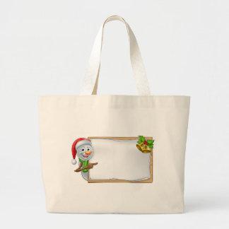 Snowman Christmas Cartoon Sign Large Tote Bag