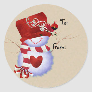Snowman Christmas Gift Tags Round Sticker