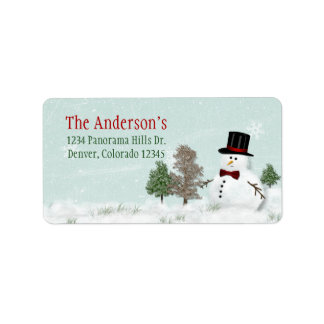 Snowman Christmas Holiday Xmas Address Mailing Label