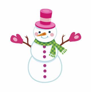 Snowman Christmas Magnet Pink Photo Sculpture Magnet