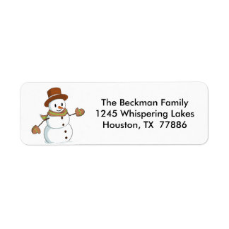 Snowman Christmas mailing labels