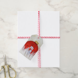 snowman Christmas ornament in fur Gift Tags