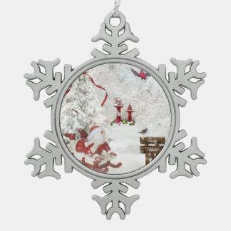 Snowman Christmas Ornament Snow Globe holly sled