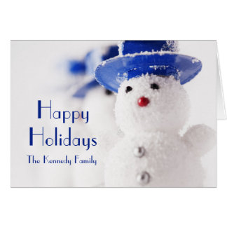 Snowman Christmas ornaments on ice Greeting Card
