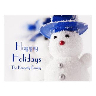 Snowman Christmas ornaments on ice Postcard