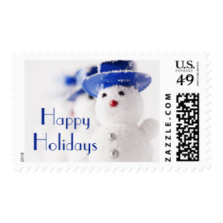 Snowman Christmas ornaments on ice Stamps