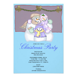 Snowman Christmas Party Holiday Invite