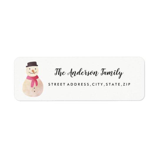 Snowman Christmas Return Address Label