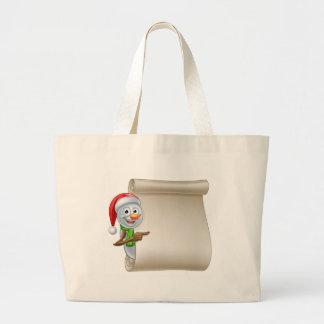 Snowman Christmas Scroll Large Tote Bag