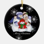 Snowman Christmas Snowflakes Ornament