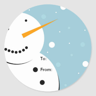 Snowman Christmas Sticker Tag, To: From: