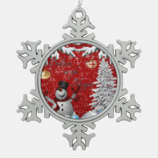 Snowman Christmas tile tree red white believe snow Pewter Snowflake Decoration