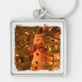 Snowman Christmas Tree Decoration Silver-Colored Square Key Ring