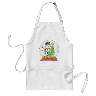 Snowman, Christmas Tree in a Snow Globe Apron