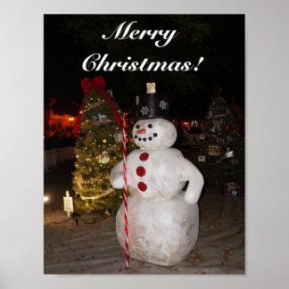 Snowman & Christmas Tree Poster