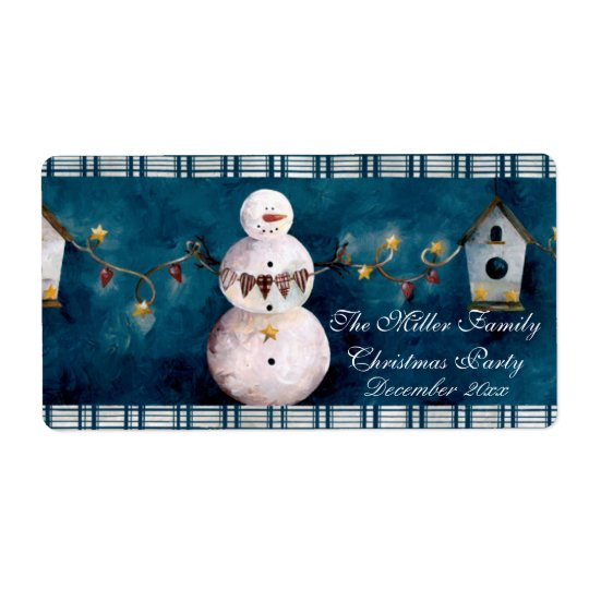 Snowman Christmas Water Bottle Shipping Label
