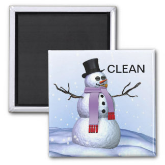 Snowman Clean Dirty Christmas Dishwasher Magnet