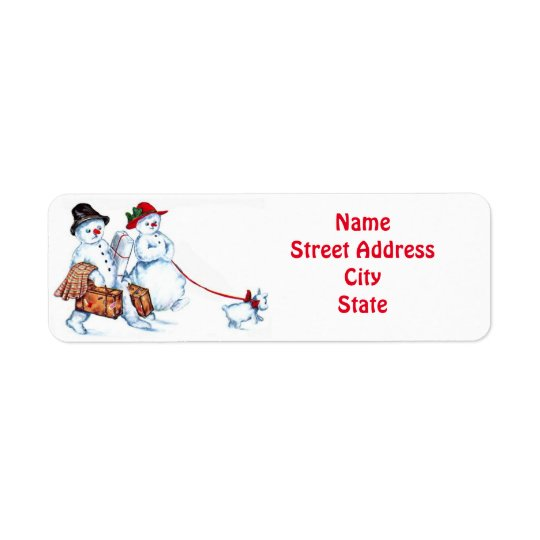 Snowman Couple & Dog Return Address Label