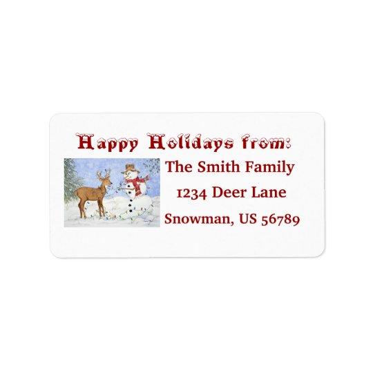 Snowman & Deer - Customizablle Address Label