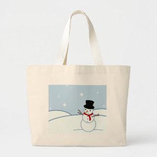Snowman Design Tote Bags