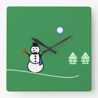 Snowman Design Clock With Green Background
