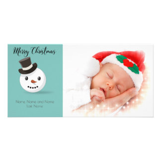 Snowman Design Merry Christmas Photo Card