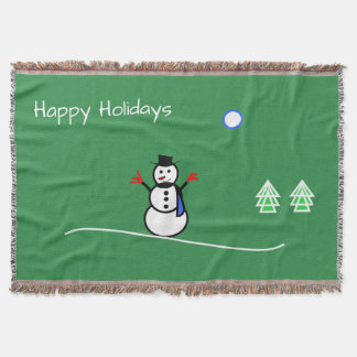Snowman Design With Happy Holidays Throw Blanket