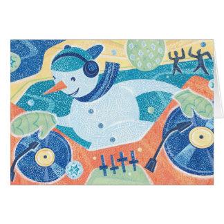 Snowman DJ Christmas Dance Party Greeting Card