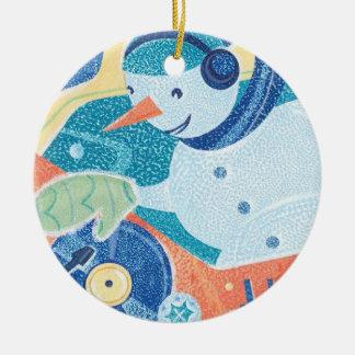Snowman DJ Holiday Dance Party Christmas Ornament