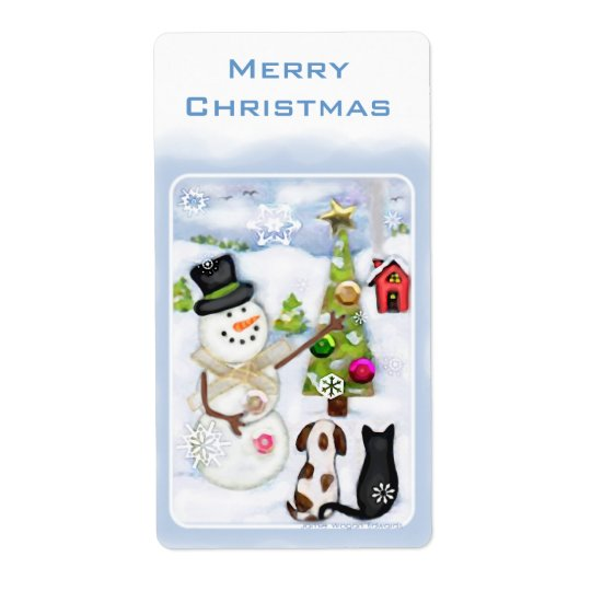 Snowman, Dog & Cat Christmas Labels