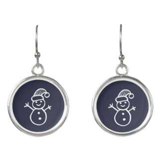 Snowman Doodle Holiday Earrings