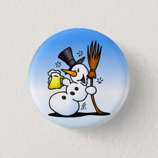 Snowman drinking a beer 3 cm round badge