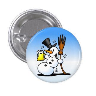 Snowman drinking a beer 3 cm round badge